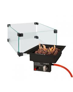 Easy Fires: Inbouwbrander 30x30 + Glazen ombouw - Zwart