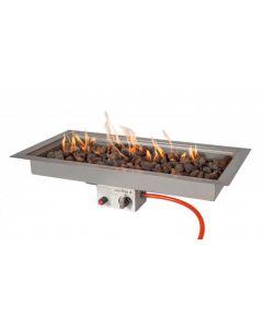 Easy Fires: Inbouwbrander Rechthoek Groot RVS - Zilver
