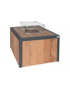 Easy Fires: Vuurtafel Box Vierkant Bruin - Hardhout Cumaru