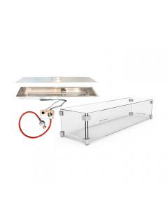 Forno: Inbouwbrander 80x20 + Glazen ombouw