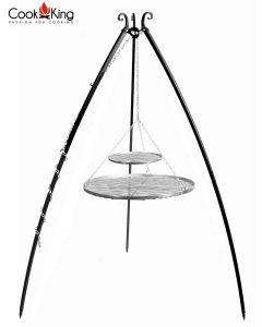 CookKing: Driepoot 200 cm met dubbel RVS grillrooster 80+40 cm